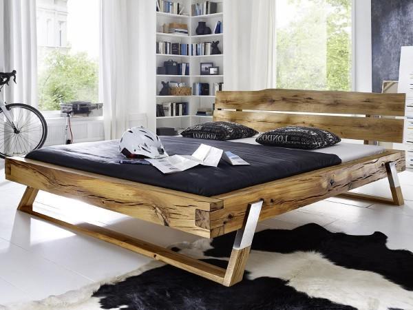 Design Bett Massivholz Balkenbett Wildeiche massiv geölt