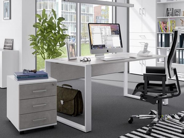 Schreibtischset 120 cm + Rollcontainer direct Dekor Beton mit Kufenfuß