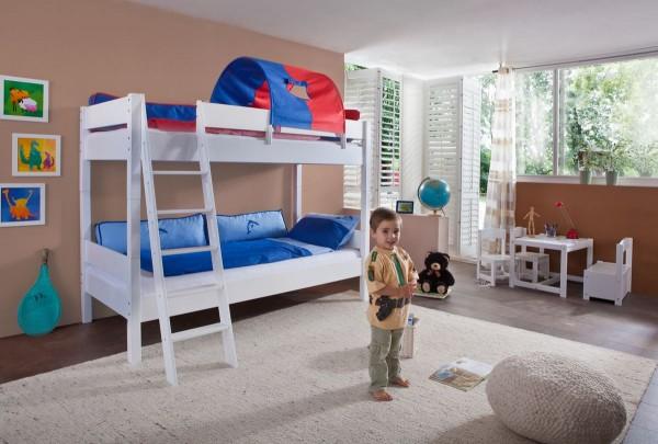 Etagenbett 90x200 cm Stefan Buche massiv Weiss Kinderbett mit Rollrost