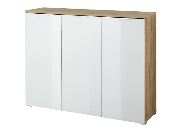 Schuhschrank Telde 3935 Eiche Weiß Dekor mit Glasfront 134cm breit