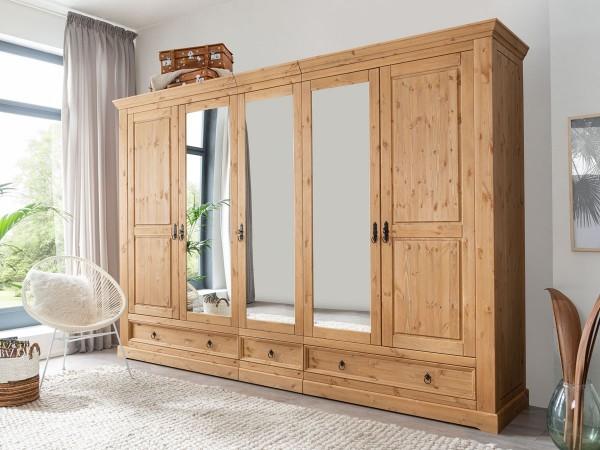 Kleiderschrank Kiefer massiv Montan eichefarbig 5 türig mit Spiegel