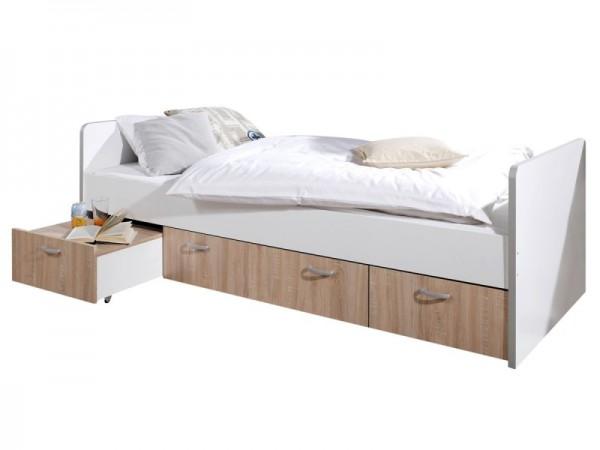 Bett Bonny Kinderbett 90x200 cm mit Stauraum Sonoma