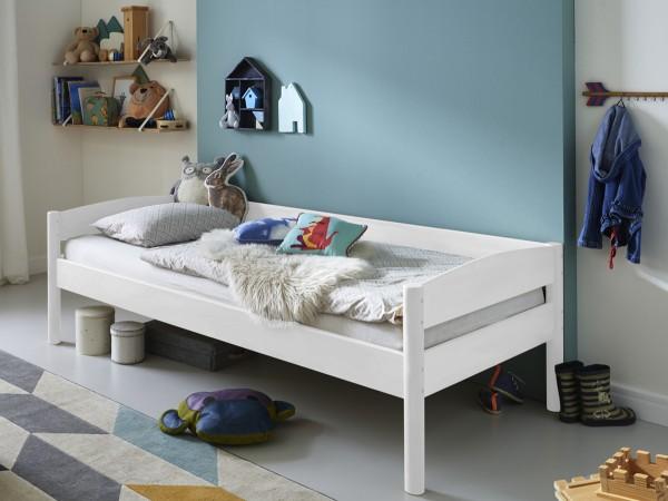 Kinderbett Michelle weiß 90x200cm Buche massiv Einzelbett