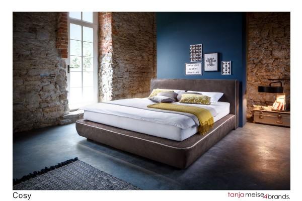 Design Boxspringbett Cosy 180x200 cm Kunstleder braun