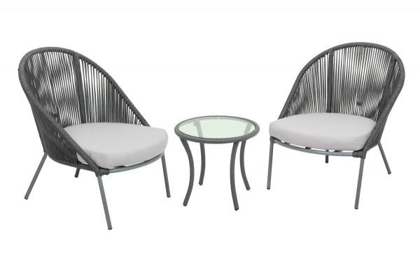 Garten Sitzgruppe Slimm 2 Sessel + Tisch grau weiss