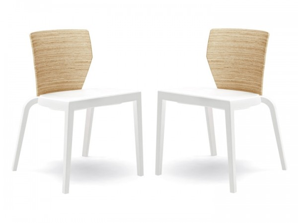 Infiniti Stuhl Bi 3D Wood 2er Set stapelbar Weiß & Eiche