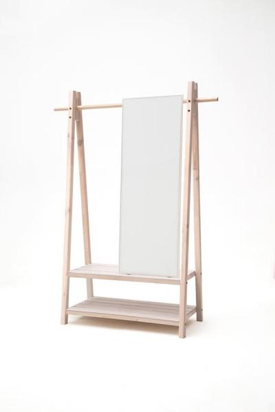 Standgarderobe Hänga mit Spiegel massiv weiß lasiert 125cm breit