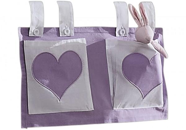 Relita Stofftaschen für Hoch- und Etagenbetten lila/weiß - Herz