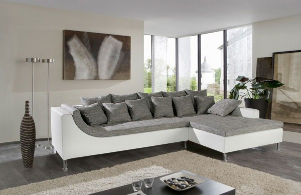 Jockenhöfer Sofa Montego grau-weiss