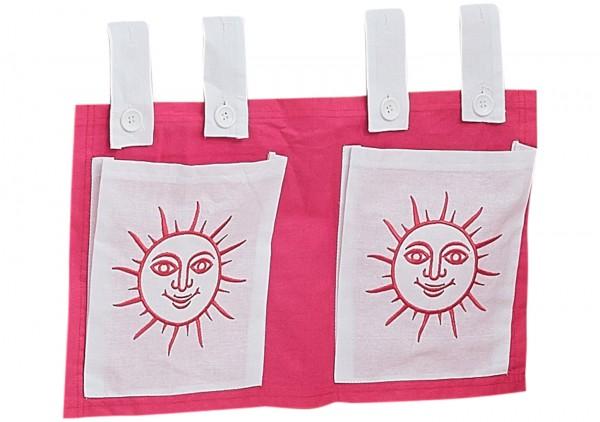 Relita Stofftaschen für Hoch- und Etagenbetten pink/weiß - Sonne