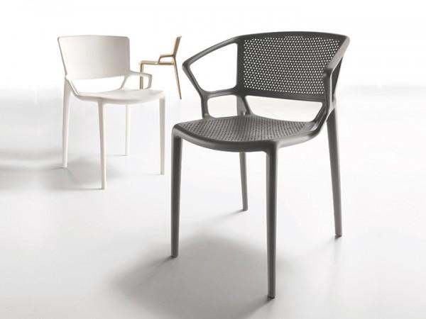 Infiniti Stuhl Fiorellina 4er Set mit Armlehnen perforiert stapelbar