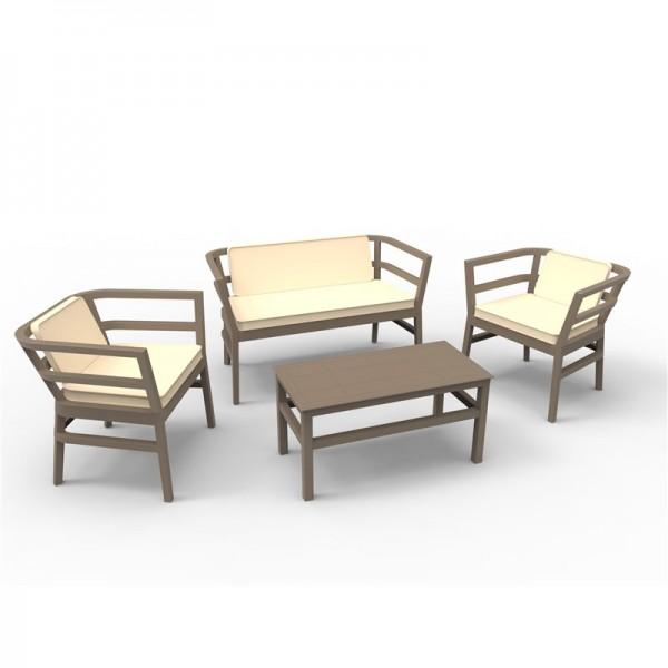 Resol Möbelset Click-Clack, 1 Sofa, 2 Armsessel, 1 Beistelltisch und 3 Kissen