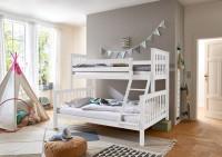 Etagenbett Kinderbett Kick 90 - 140x200 cm Buche massiv Weiß