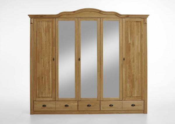 Kleiderschrank mit Spiegel Inga 5 türig Kiefer massiv