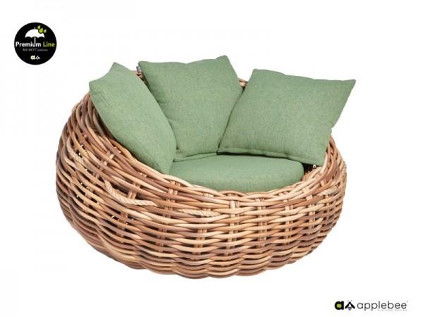 Apple Bee Cocoon Designer Gartensessel 1-Sitzer Geflecht grün 130cm breit