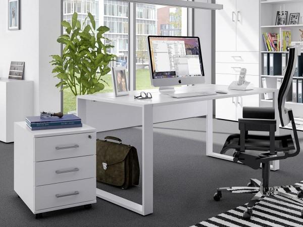 Schreibtischset 150 cm + Rollcontainer direct Dekor Weiß mit Kufenfuß