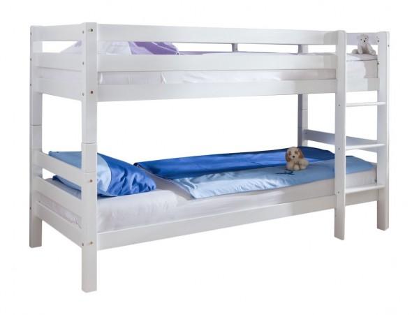 Etagenbett 90x200 cm Beni Buche massiv Weiss Kinderbett mit Rollrost