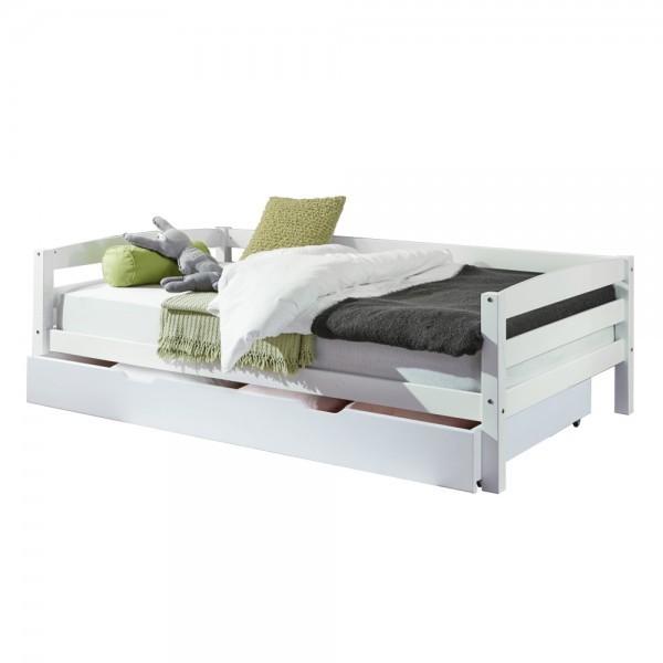 Kinderbett Nora mit Bettkasten 90x200cm Buche massiv Weiß lackiert
