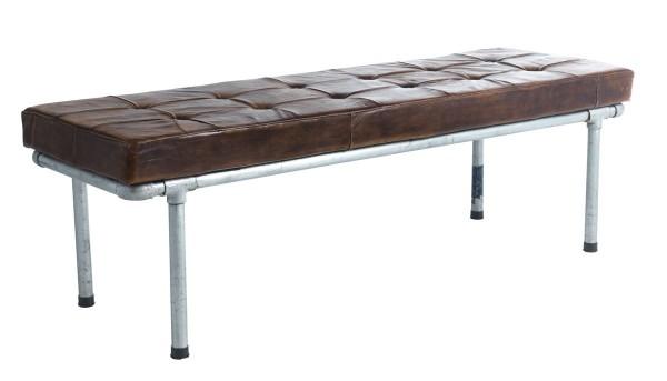 Industrial Sitzbank Vintage Leder Rose brown Stahlrohr Rome 152 cm breit