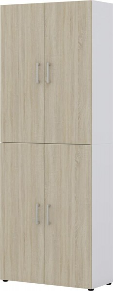 Aktenschrank direct Weiß Front Sonoma Eiche 6 Ordnerhöhen 4 türig
