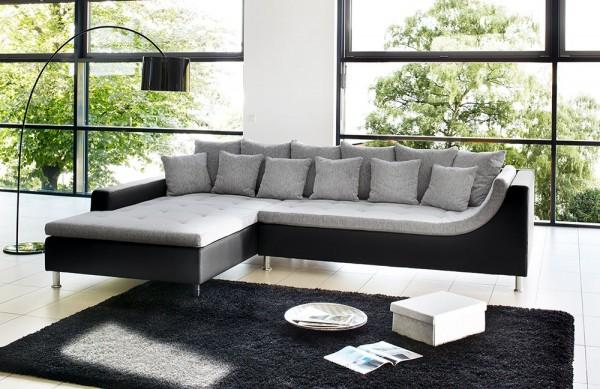 Jockenhöfer Sofa Montego hellgrau-schwarz