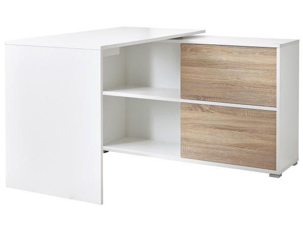 Schreibtisch Nisse mit Sideboard Weiß / Eiche Dekor