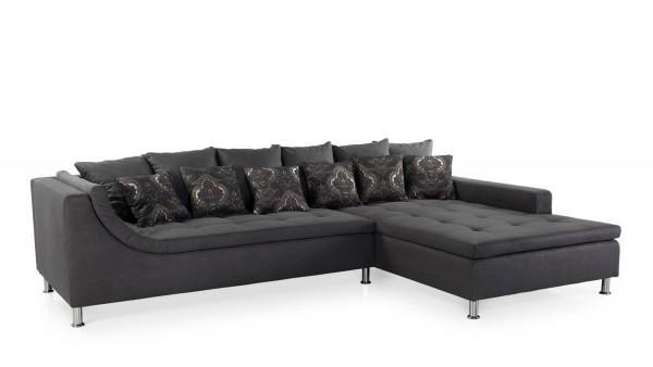 Jockenhöfer Sofa Montego II dunkelgrau-schwarz