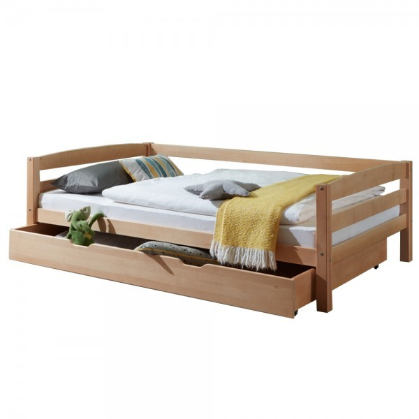 Kinderbett Nora mit Bettkasten 90x200cm Buche massiv Natur