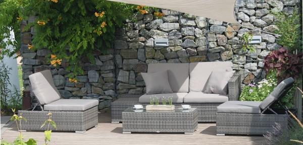 Garten Sitzgruppe Claudia Alu - Kunststoffgeflecht grau