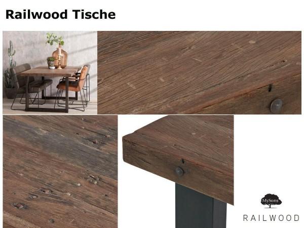 Design Esstisch Railwood recycelt massiv Industrial