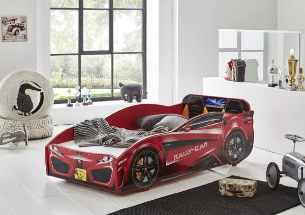 Autobett Rallycar rot 80x160 cm inkl. Rollrost + Matratze