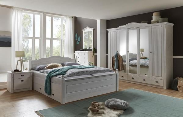 Schlafzimmer im Landhausstil Inga weiß 4 teilig