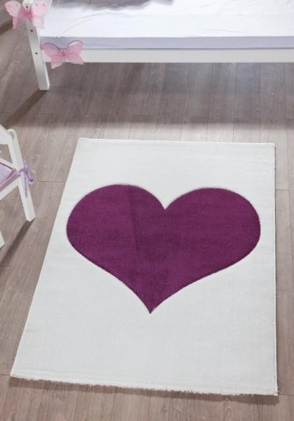 Relita Teppich lila Herz, 170 x 120cm
