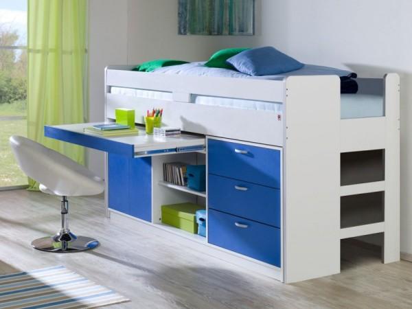 Bett Bonny 90x200 cm Funktionsbett Hochbett Blau inkl. Rollrost