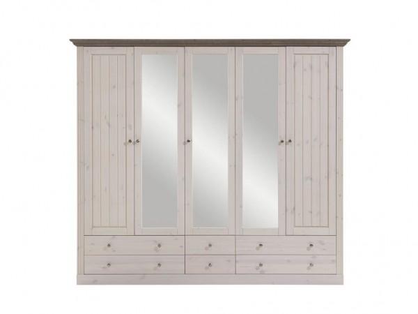 Steens Kleiderschrank Monaco 115 weiß/stone, 5 Türen