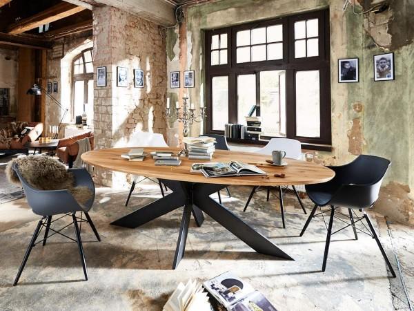 Designer Esstisch / Massivholztisch Denver Eiche massiv 200x100cm Wildeiche oval Bodahl