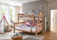 Etagenbett Kinderbett Kick 90 - 140x200 cm Buche massiv Natur