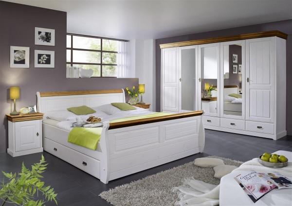 Kleiderschrank Melina 5 türig Kiefer massiv weiß honig 315cm breit mit Spiegel