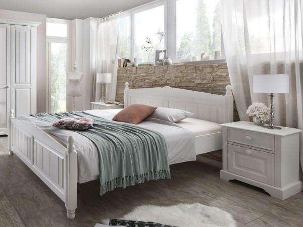 Doppelbett Pisa Pinie weiss im Landhausstil 160/180/200x200cm