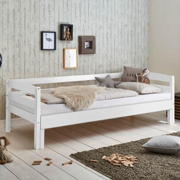 Kinderbett Emilia ausziehbar 90/180 x 200cm Funktionsbett Buche massiv Weiß