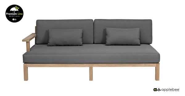 Apple Bee XXL Factor Gartensofa Rechts Lounge Teak Antik 190cm breit Grau