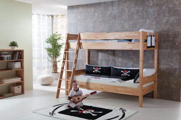 Etagenbett 90x200 cm Stefan Buche massiv Natur Kinderbett mit Rollrost
