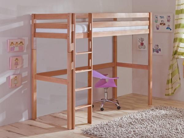 Hochbett Toli 90x200 cm Kinderbett Buche massiv mit Rollrost
