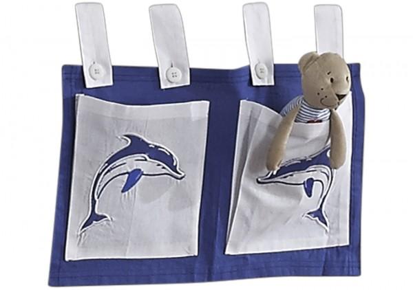 Relita Stofftaschen für Hoch- und Etagenbetten weiß - Delphin