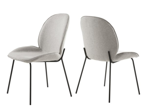 Stuhl Esszimmerstuhl 2er Set Hella 4 - Fuß Gestell Metall schwarz