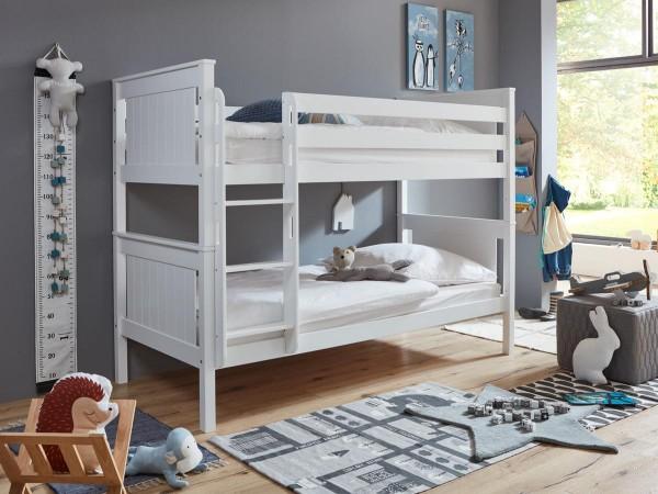 Etagenbett Mia Kinderbett Weiß 90x200cm mit Leiter