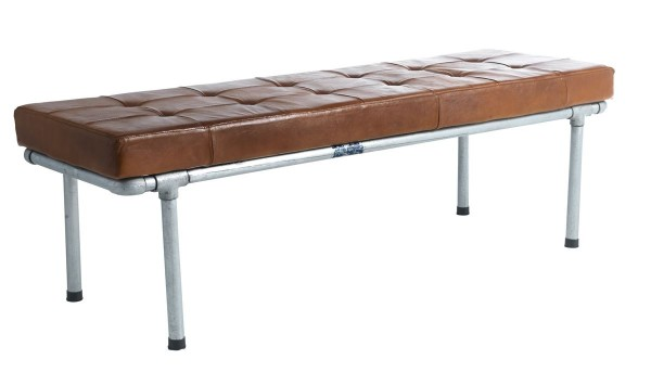 Industrial Sitzbank Vintage Leder Cognac Stahlrohr Rome 152 cm breit