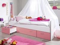 Bett Bonny Kinderbett 90x200 cm mit Stauraum Rosa