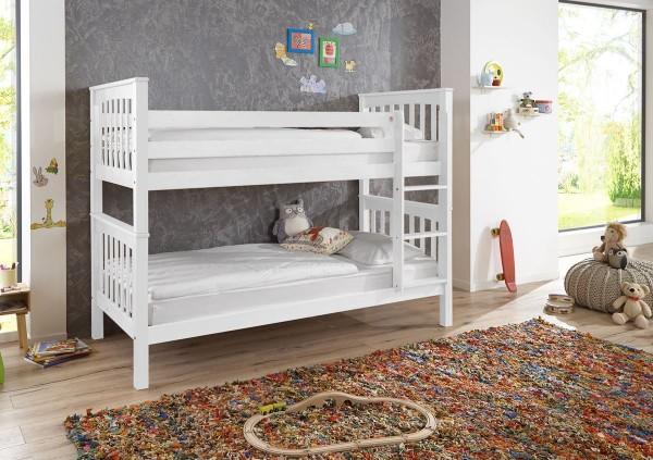 Etagenbett Kinderbett Kick 90x200 cm Buche massiv Weiß